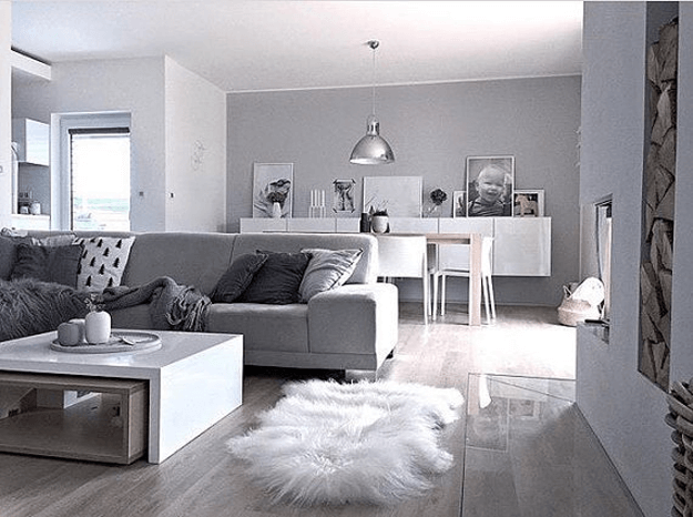 long haired sheepskin rug in gray living room