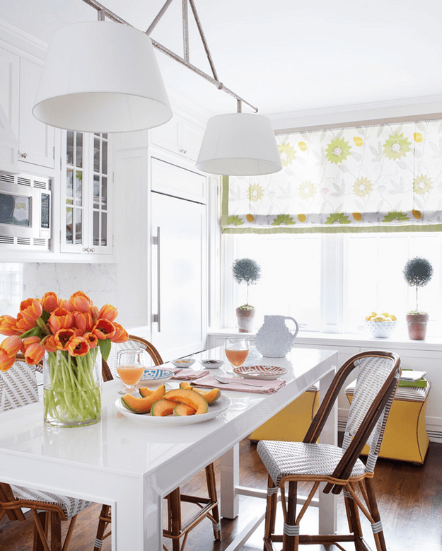white kitchen with lime green accents