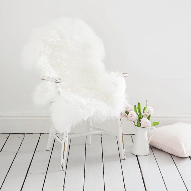 white sheepskin throw