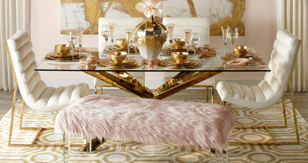 blush pink and gold dining room