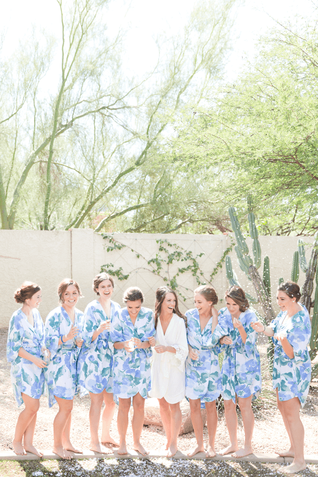 bridesmaids in blue floral robes