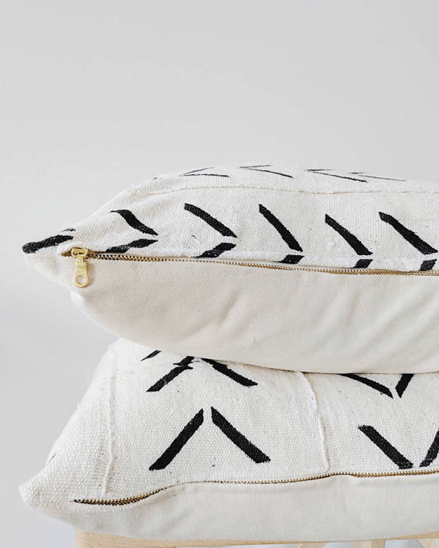 white mudcloth arrow tribal pillows