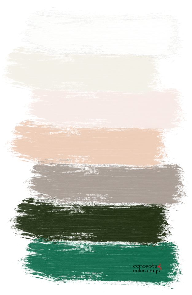 blush pink white and emerald green paint palette