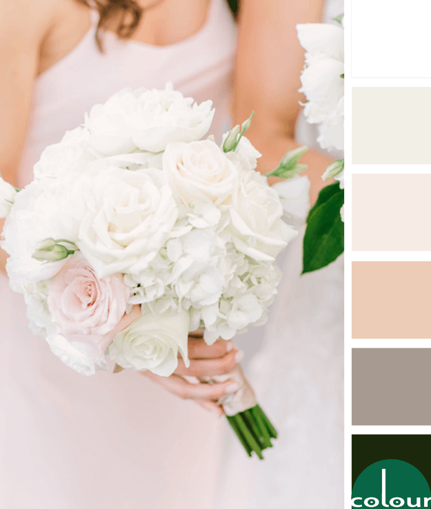 blush pink white emerald green color palette