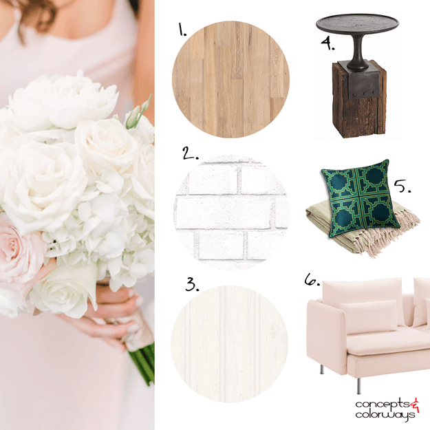 blush pink and white interior design mood board