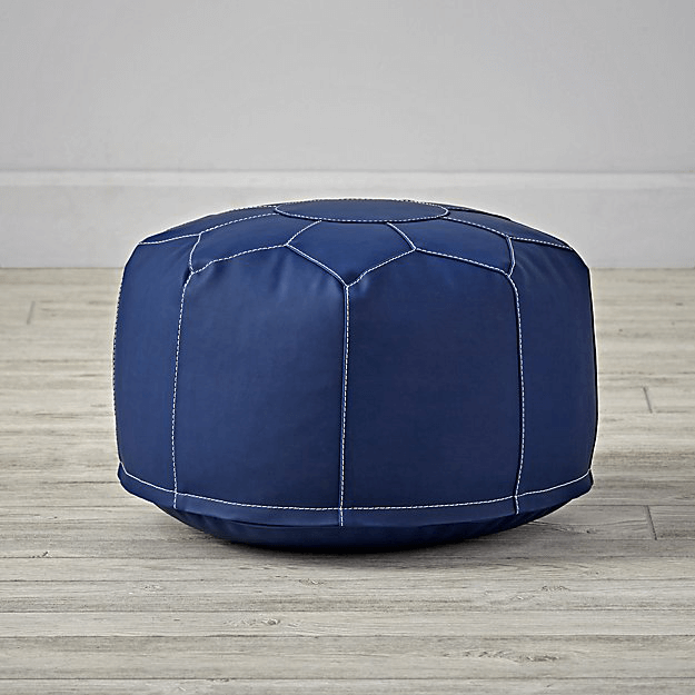 navy blue leather pouf