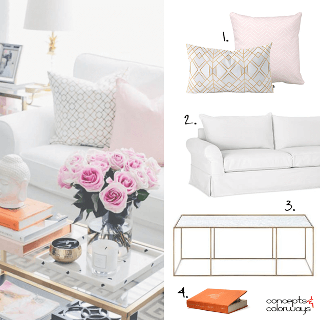 white living room with pink accents mood board