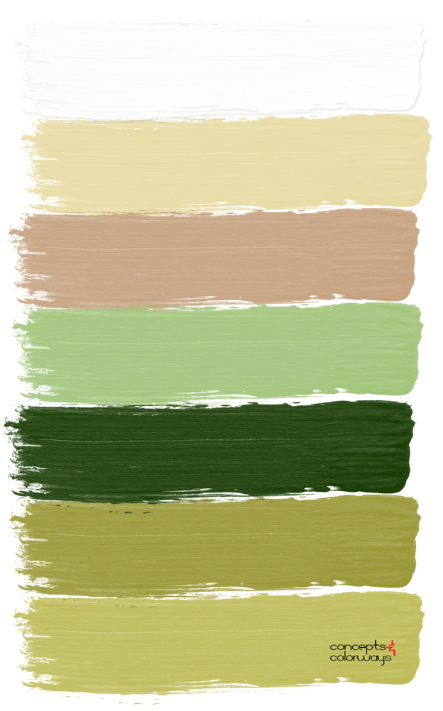 lime green and ginger brown paint palette