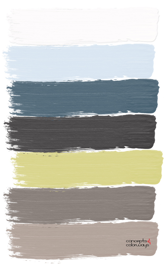 chartreuse and blue paint palette