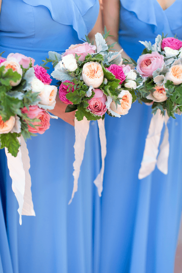 french blue bridesmaids dresses with pink bouquets