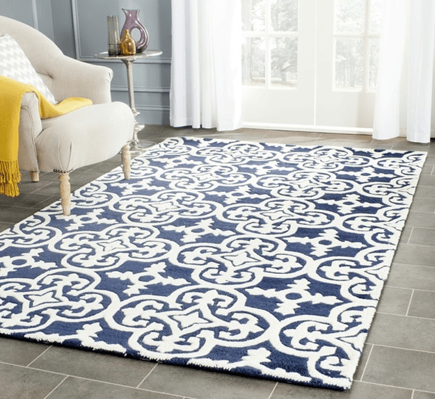 navy blue and white patterned rug