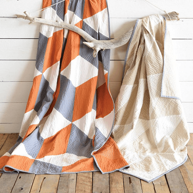 orange gray and white modern quilt