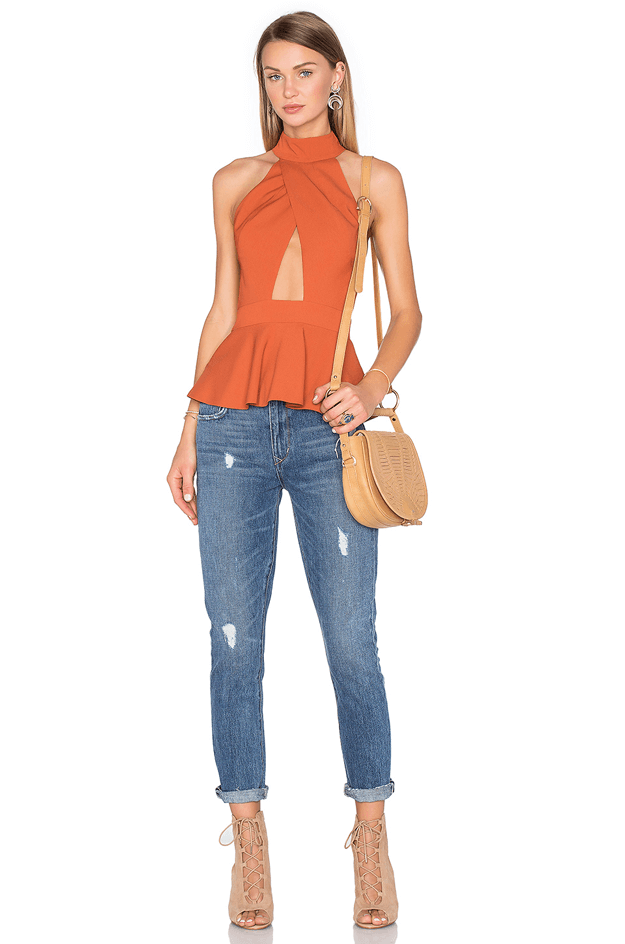 burnt orange halter top