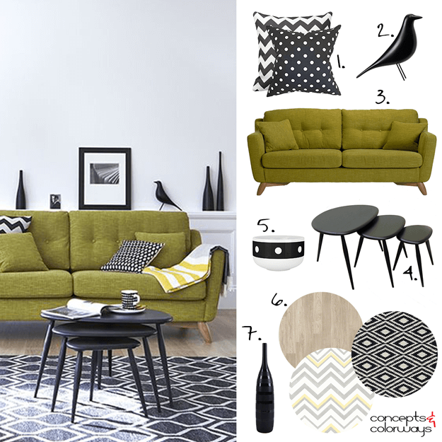 black and white interior design with lime green sofa
