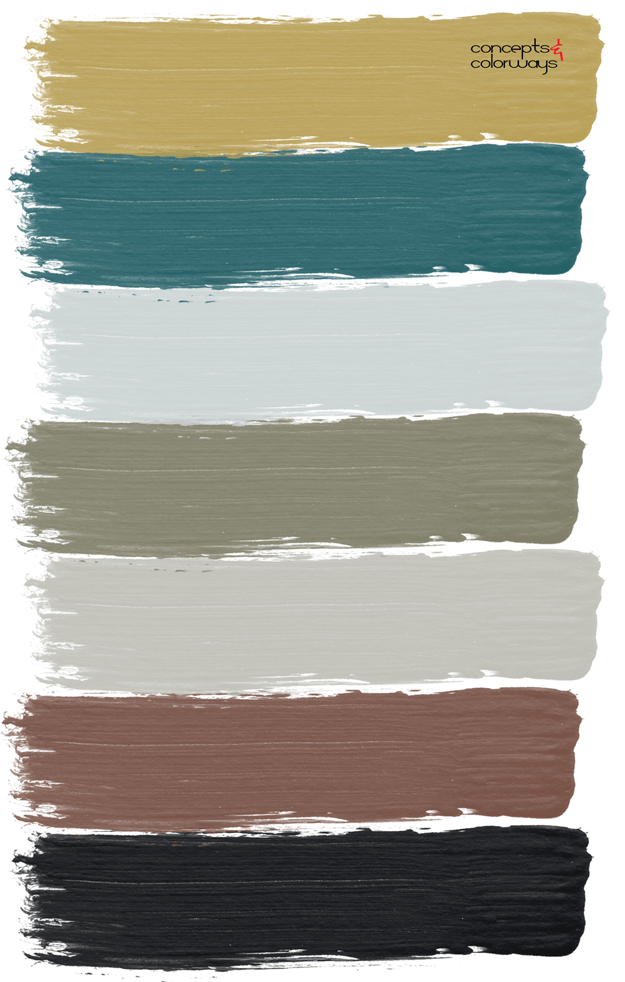 teal green and rust red paint palette