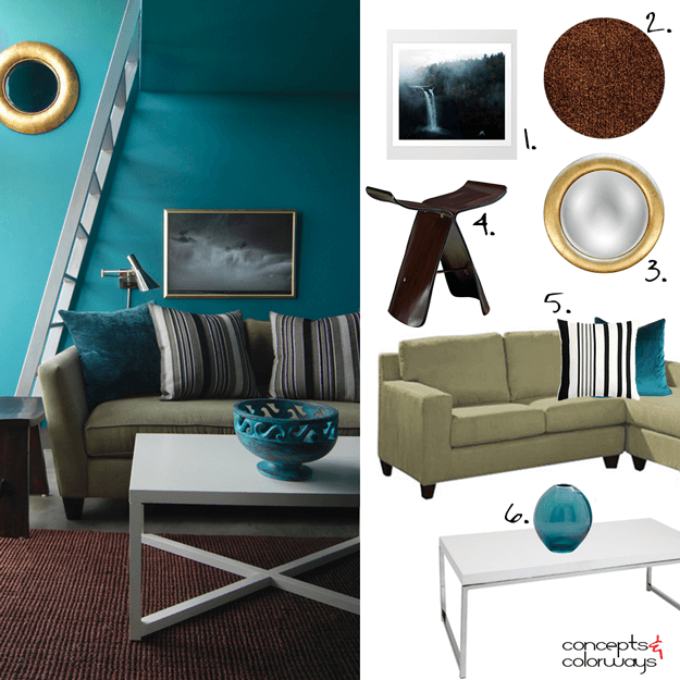 teal green living room get the look mood board