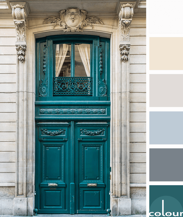 teal grand entry door in paris