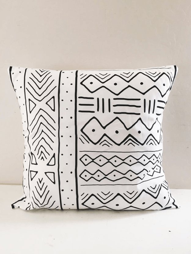 white mudcloth tribal pillow