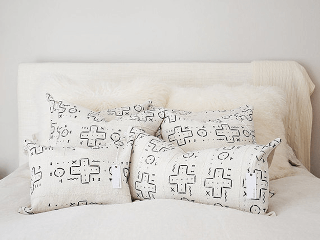 white mudcloth tribal pillows
