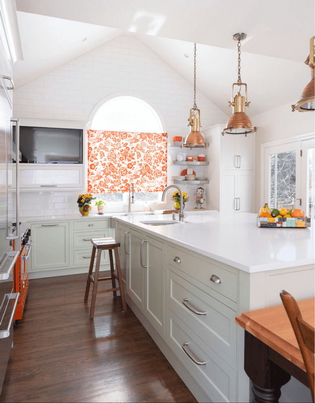 white kitchen with blood orange floral roller shade