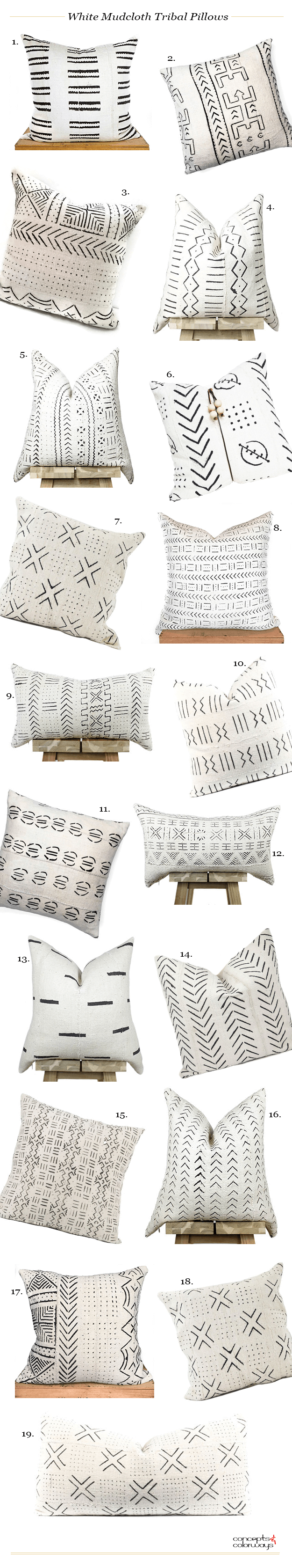 white african mudcloth tribal pillows product roundup