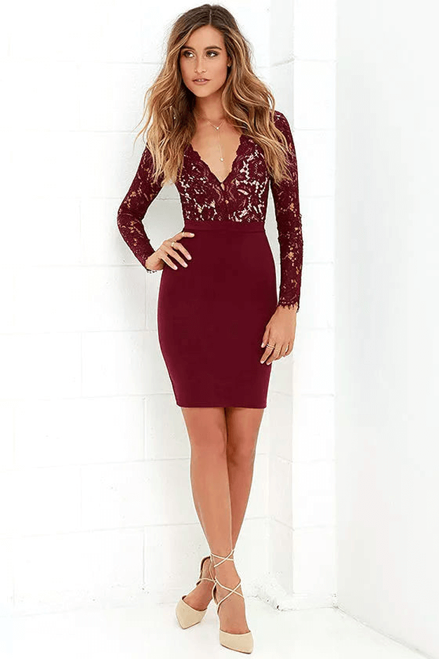 burgundy dress in white room