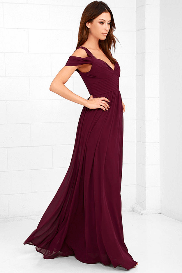 burgundy maxi dress against white background