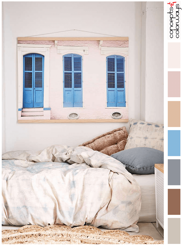 blush pink and blue bedroom