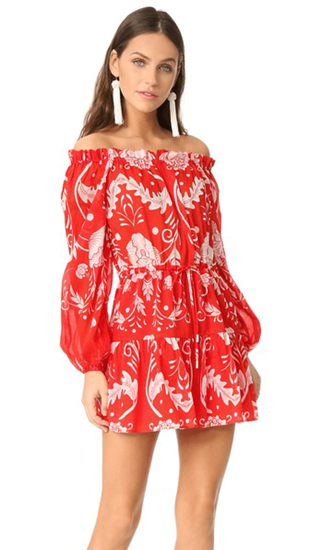 bright red and white floral print dress