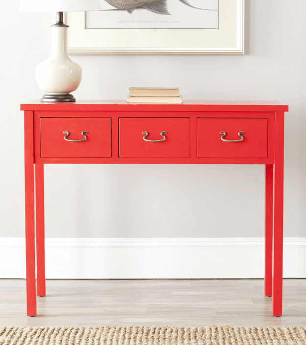 bright red console table