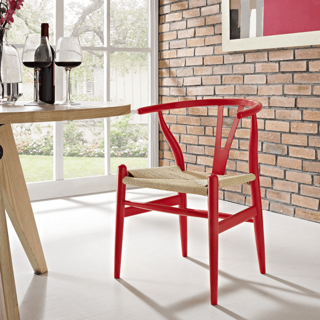 bright red wishbone amish wood armchair