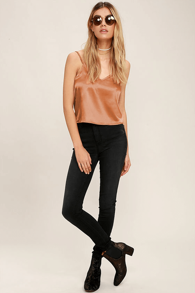 copper brown satin tank top