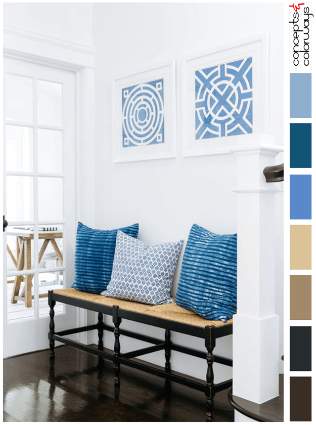interior color palette with blue and brown accents