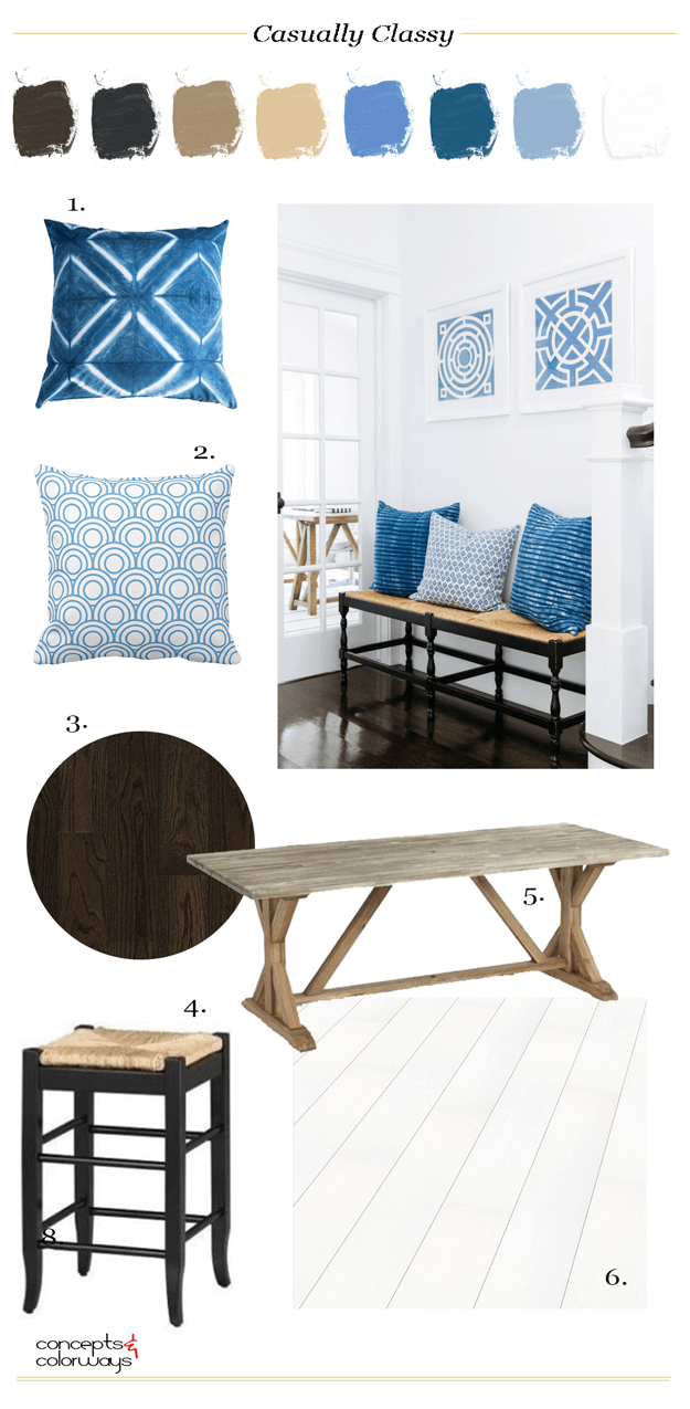 white interior mood board with natural wood and blue accents