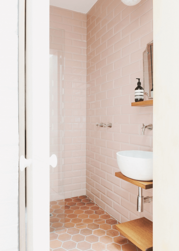 blush pink and copper brown bathroom