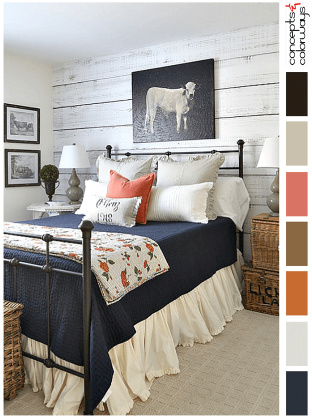 color palette for country style bedroom