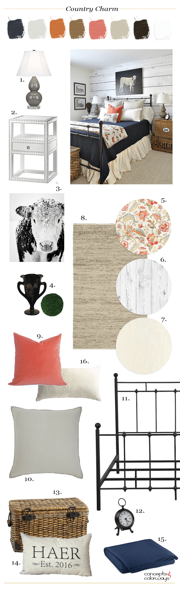 country style bedroom mood board