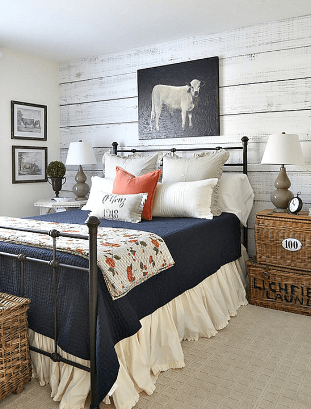 country style bedroom with orange accents