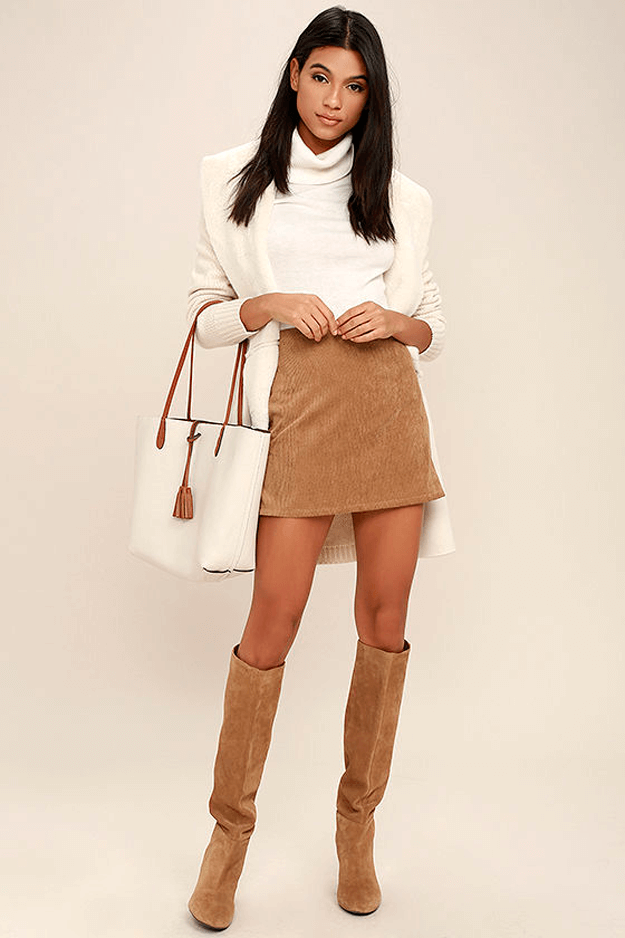 light brown mini skirt with ivory turtleneck sweater