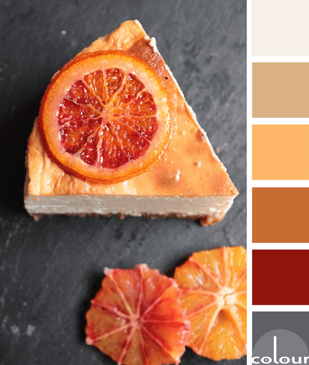 baked blood orange cheesecake color palette