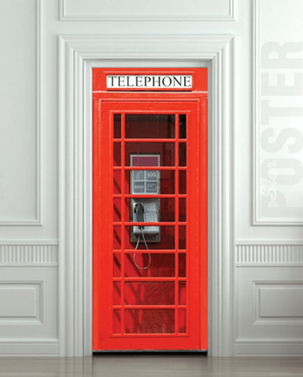 bright red telephone booth door sticker