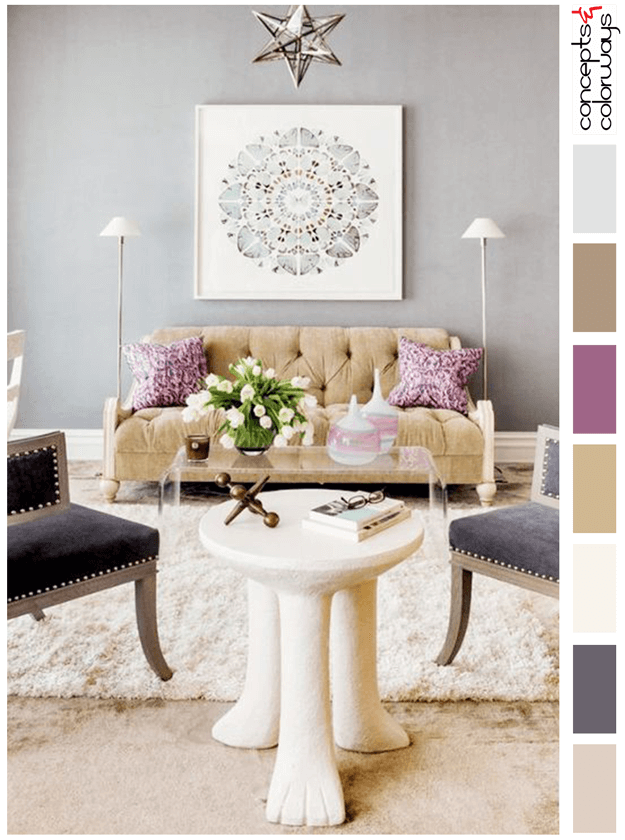 gray living room with purple and gold accents