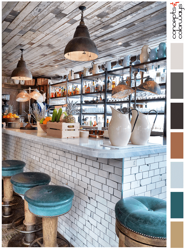 restaurant bar with reclaimed wood and subway tile