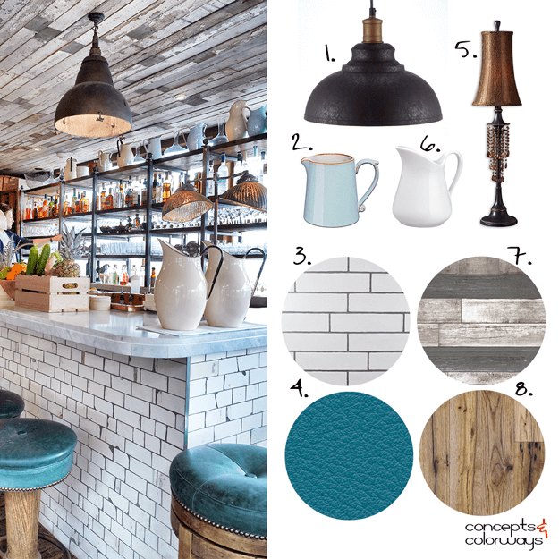 industrial style bar interior design mood board
