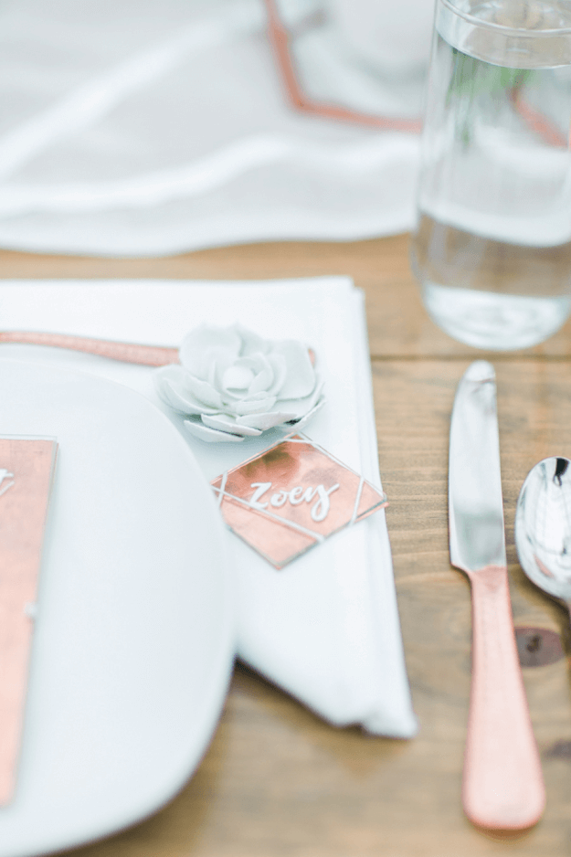 copper and mint green table setting