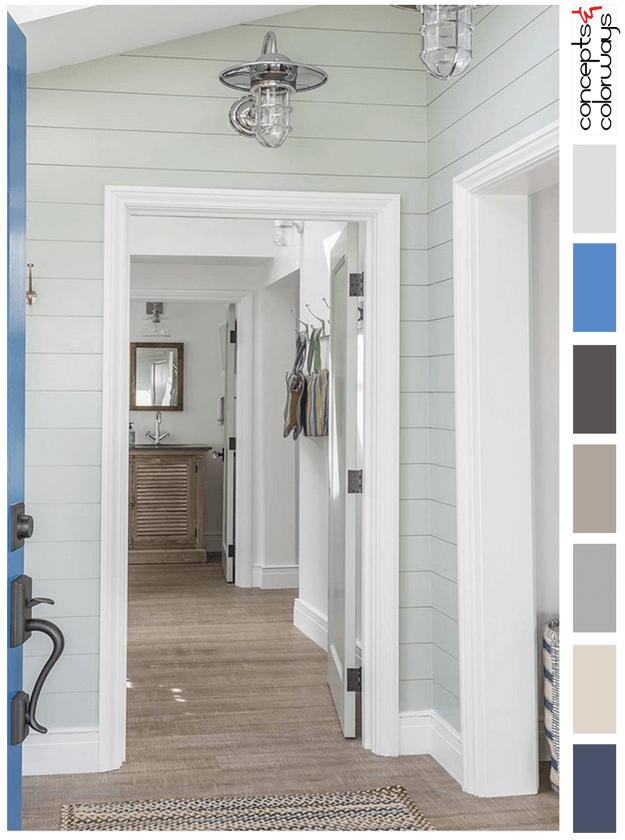 cottage style interior color palette with marine blue accent