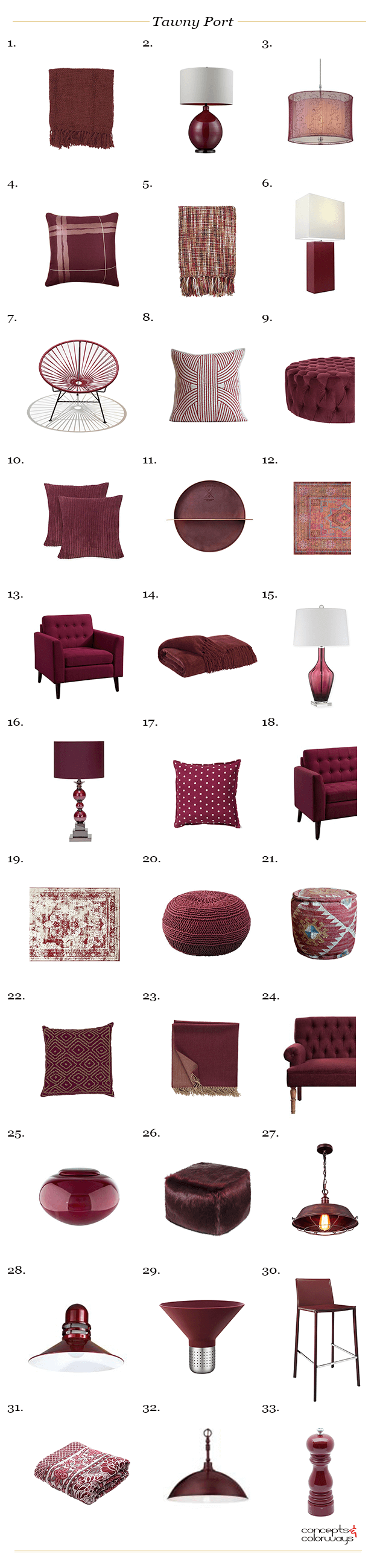 pantone tawny port interior design product roundup