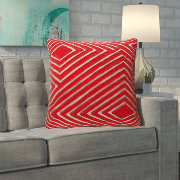 bright red geometric pillow