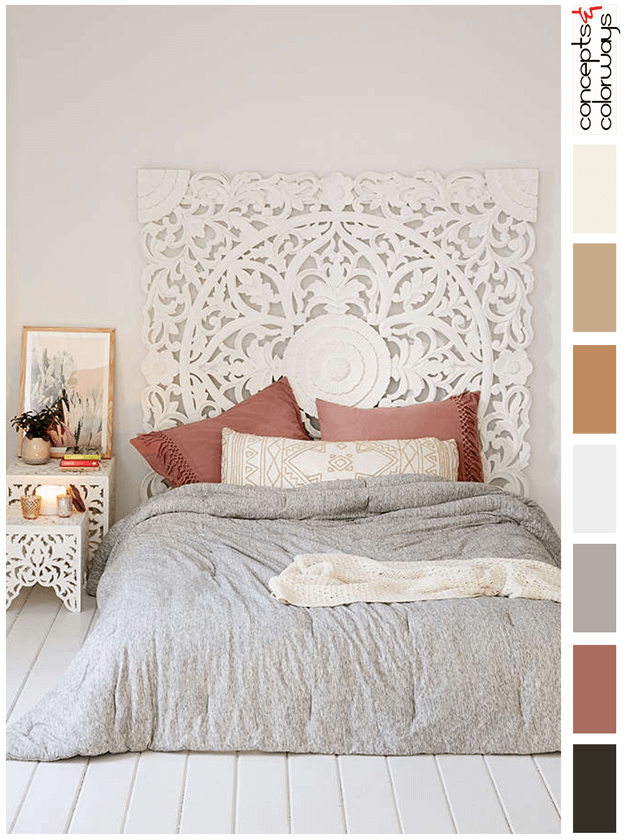 bedroom interior color palette with faded red accent