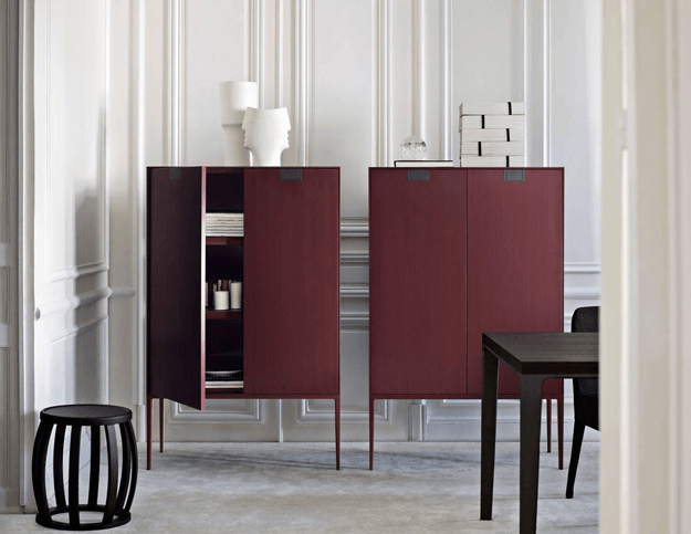 modern burgundy cabinets in white room